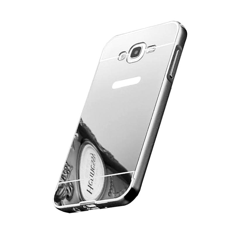 Bumper Case Mirror Sliding Casing for Samsung Galaxy J2 - Silver