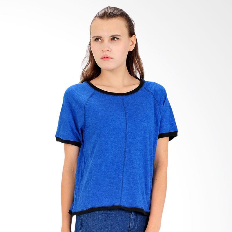 SJO & SIMPAPLY Certainy Women's T-Shirt Atasan Wanita - Blue