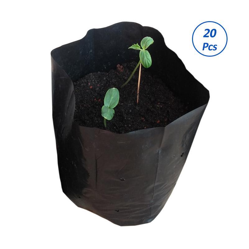DebbyGarden Tanaman Ukuran Sedang Plastik Polybag - Hitam [25 x 25 cm/20 pcs]