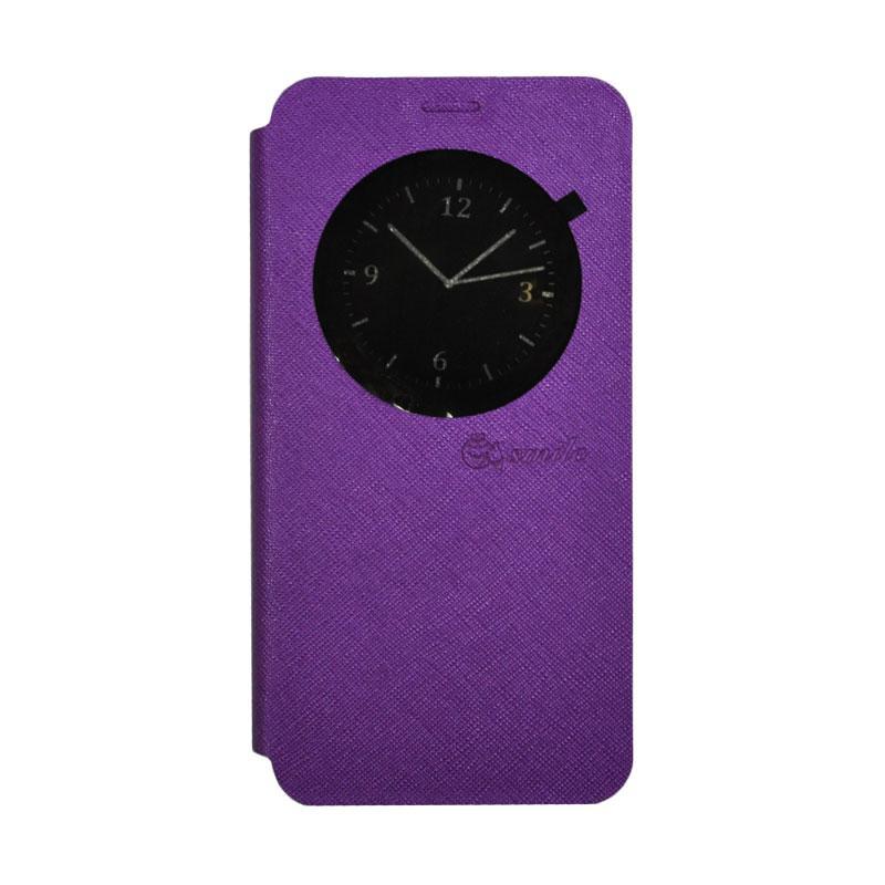 SMILE Standing Flip Cover Casing for Asus Zenfone 3 Max ZC520TL - Purple