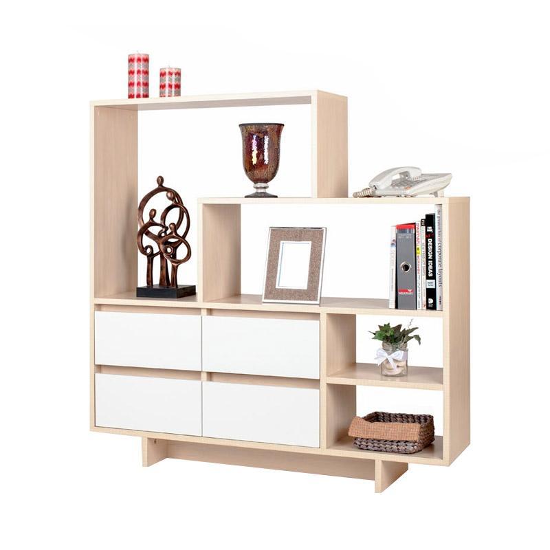 Ben Furniture Melamine Buffet Shelf Lemari Pajangan [120 x 30 x 110 cm]