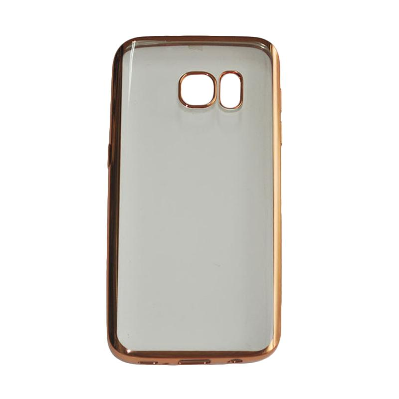 OEM Ultrathin TPU Shining Chrome Casing for Samsung Galaxy S7 Edge - Gold