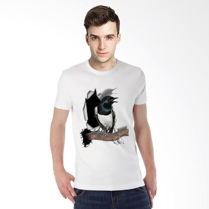 harga T-SHIRT GLORY Kaos 3D Burung Kacer Poci T-Shirt Pria - Putih Blibli.com