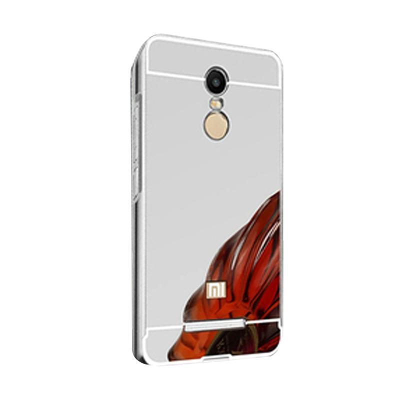 Bumper Case Mirror Sliding Casing for Xiaomi Redmi Note - Silver