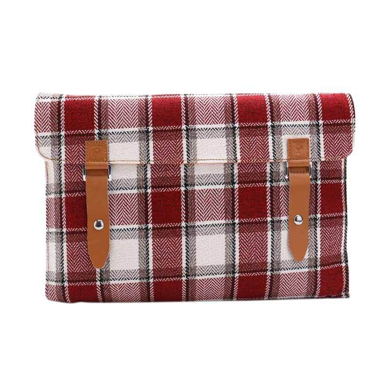 Cooltech Tas Laptop Tweed Flanel Softcase Laptop Sleeve for Macbook 11.6 Inch - Merah