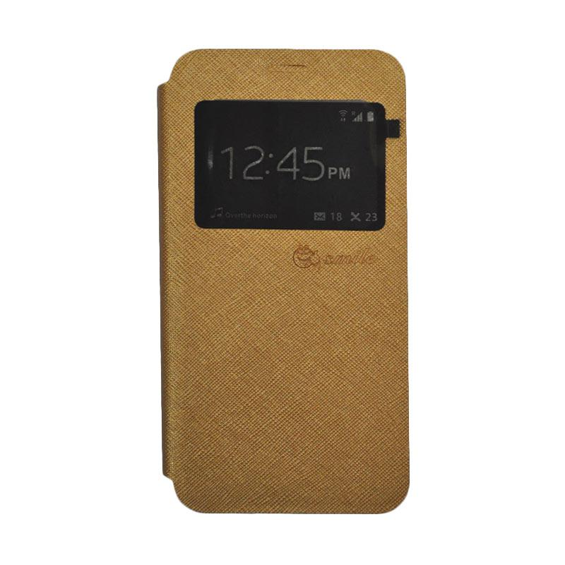 SMILE Standing Flip Cover Casing for Samsung Galaxy J1 Mini Prime - Gold