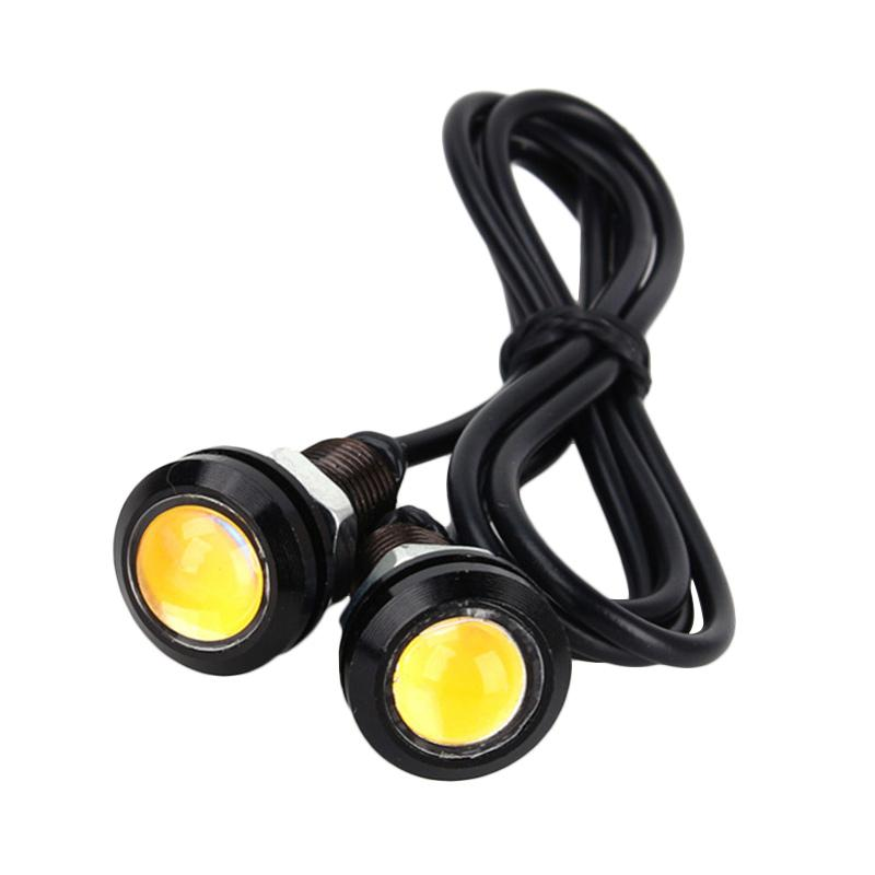 JMS DRL Daytime Eagle Eye Lampu LED For Motor Dan Mobil - Yellow [3 W/18 Mm/1 Pair]