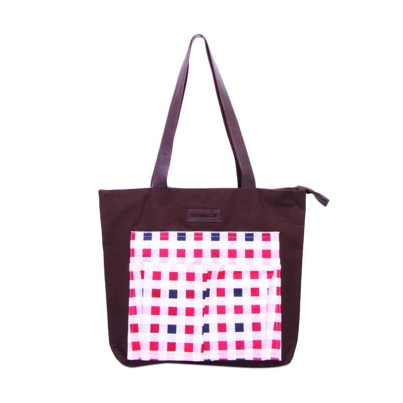 Machupicchu BTO13 Canvas Tote Bag Tas Wanita - Dark Brown Red Square