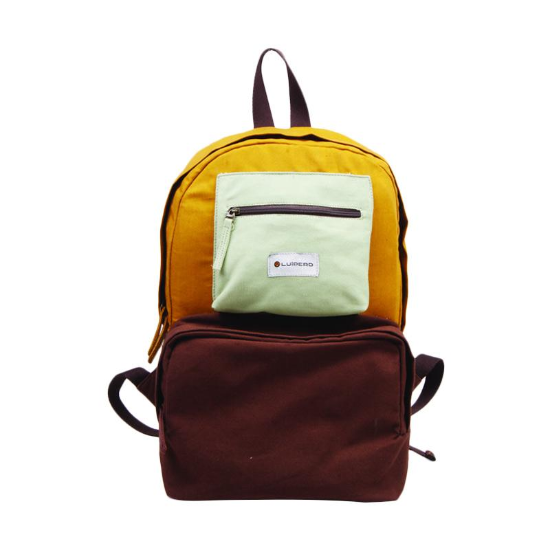 Luiperd BBP.56 Day Backpack Three Color Tas Ransel - Brown, Yellow & Mint