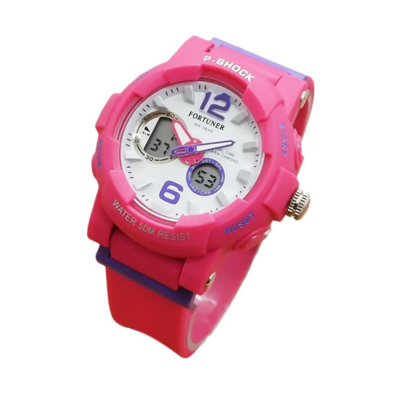 Fortuner J908AD Dualtime Jam Tangan Wanita - Pink Fanta