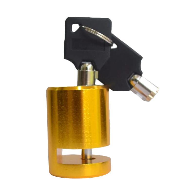 Raja Motor Model Bulat Disc Brake Lock Kunci Cakram Motor - Gold KUD9107