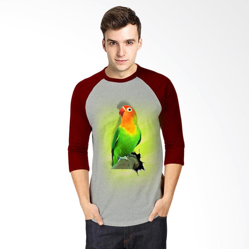 harga T-Shirt Glory 3D Burung Love Bird Fold Raglan Pria - Abu Maroon Blibli.com