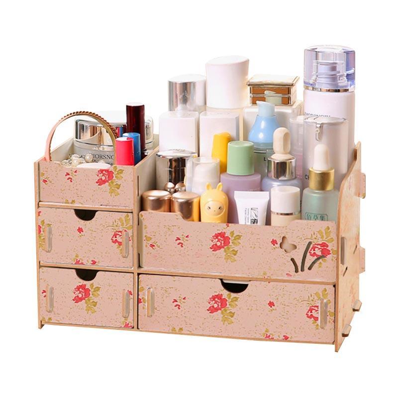 harga Godric Cosmetic Desktop Organizer Kayu Rak Kosmetik - Camelia [26.5 x 15 x 15.5 cm] Blibli.com