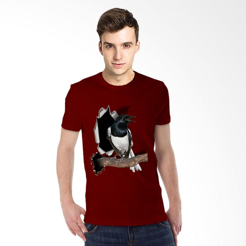 harga T-SHIRT GLORY Kaos 3D Burung Kacer Poci T-Shirt Pria - Maroon Blibli.com