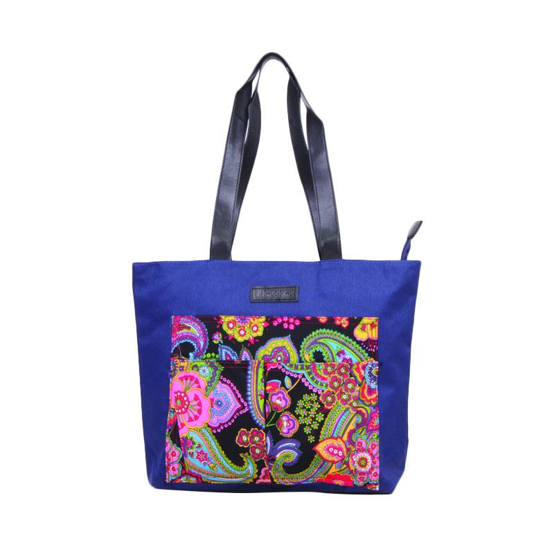Machupicchu Tote Bag Canvas to Motif BTO-13 Tas Wanita - Black Paisley