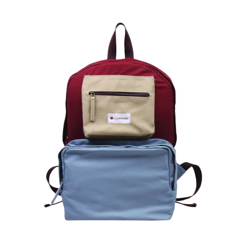 Luiperd BBP.56 Day Backpack Three Color Tas Ransel - Baby Blue, Maroon & Mint