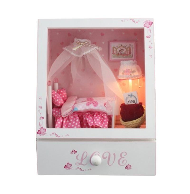 harga A1Toys Rumah Miniatur DIY Ranjang Putri Plus Lampu LED, Akrilik, & Music Box Kerajinan Tangan Blibli.com