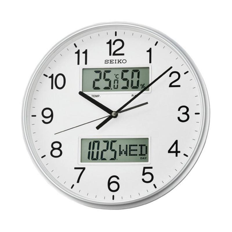 SEIKO QXL013S Analog Digital Quiet Sweep Wall Clock Jam Dinding - Silver [33 cm]