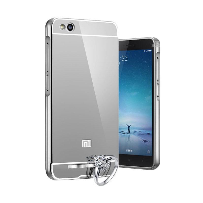 OEM Luxury Bumper Metal Sliding Backcase Casing for Xiaomi Redmi 4 - Silver