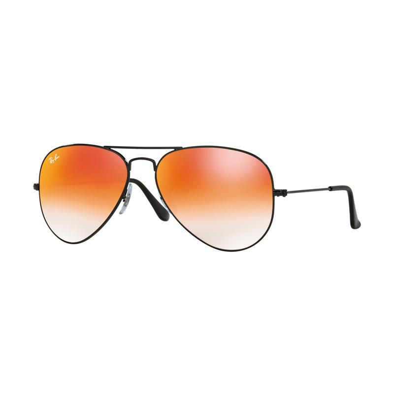 Ray-Ban  Rb3025 Aviator Large Metal Mirror 002-4W Gradient Red Sunglasses - Shiny Black  [Size 62]
