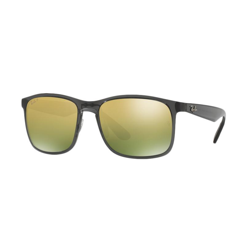 Ray-Ban Rb4264 Sunglasses - Shiny Grey [876/6O /Size 58/Green Polar Mirror Gold]
