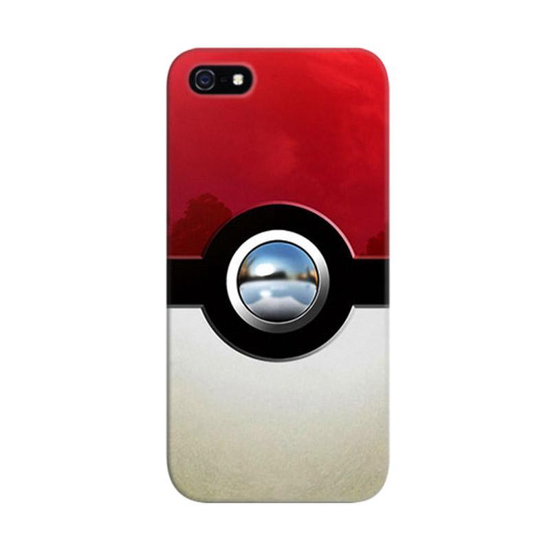 Indocustomcase Retro Chrome Pokeball Custom Hardcase Casing for Apple iPhone 5/5S/SE