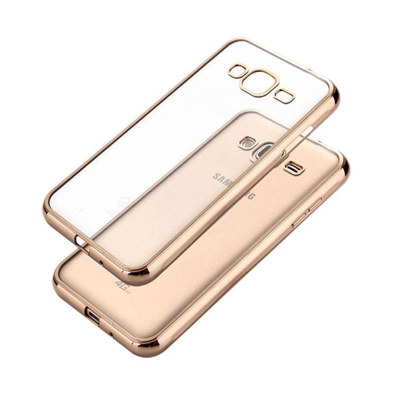 OEM Ultrathin TPU Shining Chrome Casing for Samsung Galaxy J3 - Rose Gold
