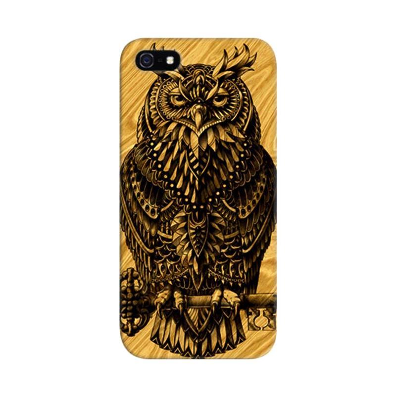 Indocustomcase Warrior Owl On Wood Custom Hardcase Casing for iPhone 5/5S/SE