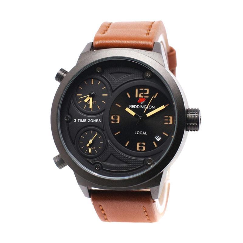 Reddington D49H350RD3032MCKTM Triple Time Leather Strap Jam Tangan Pria