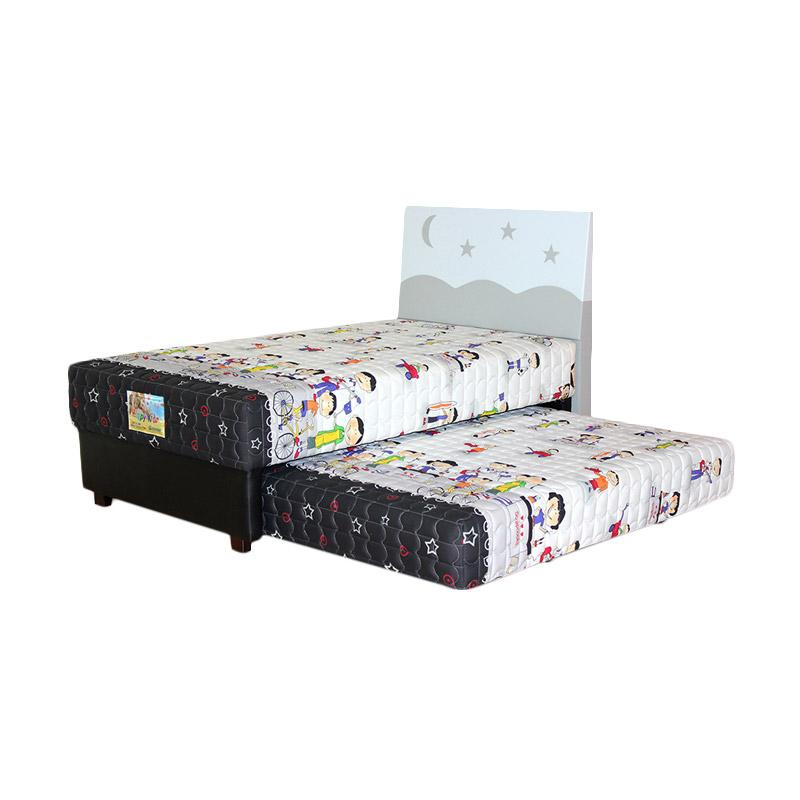 Guhdo Happy Kid 2 in1 HB Starmoon Set Springbed - White [Full Set/Jabodetabek]