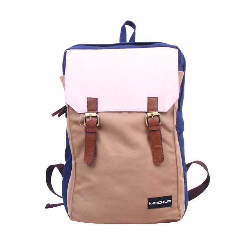Mock Up BBP.49 Three Color Backpack - Navy Light Brown Baby Pink