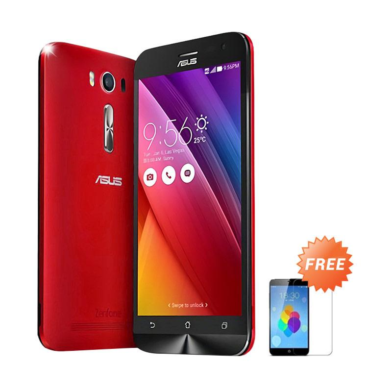 Ultrathin Aircase Casing for Asus Zenfone 2 ZE500KL - Red Clear + Free Tempered Glass