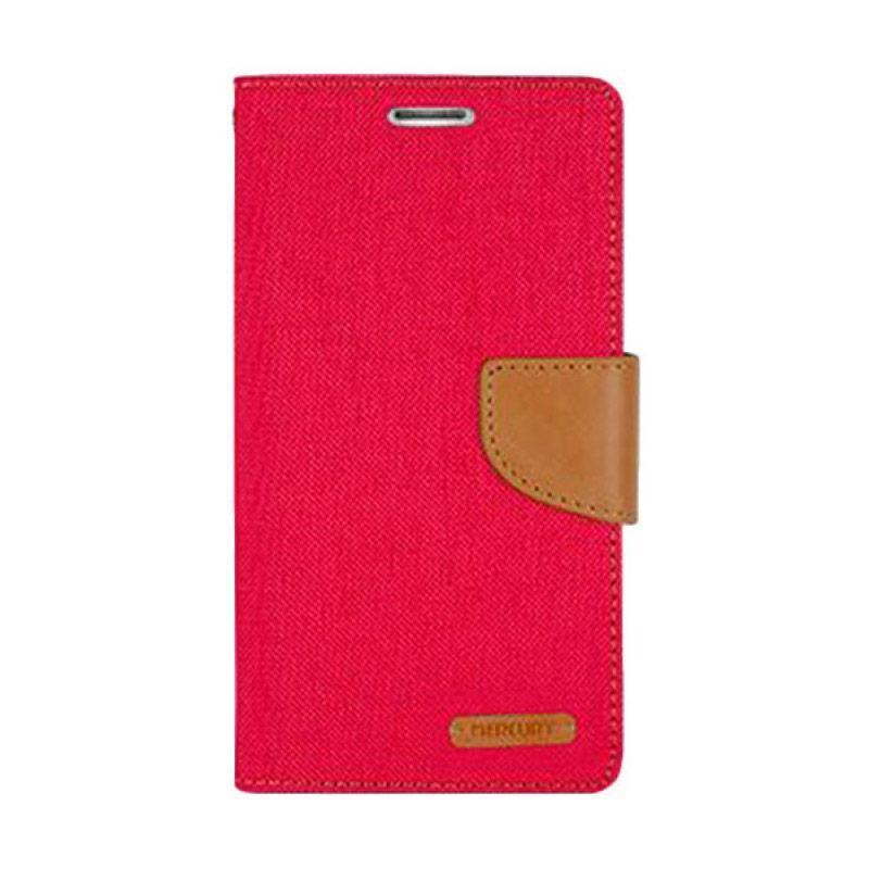Mercury Canvas Diary Flip Cover Casing for iPhone 7 Plus 5.5 Inch - Merah