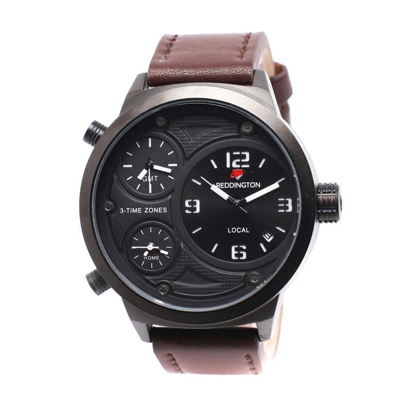 Reddington D49H350RD3032MCKTP Triple Time Leather Strap Jam Tangan Pria