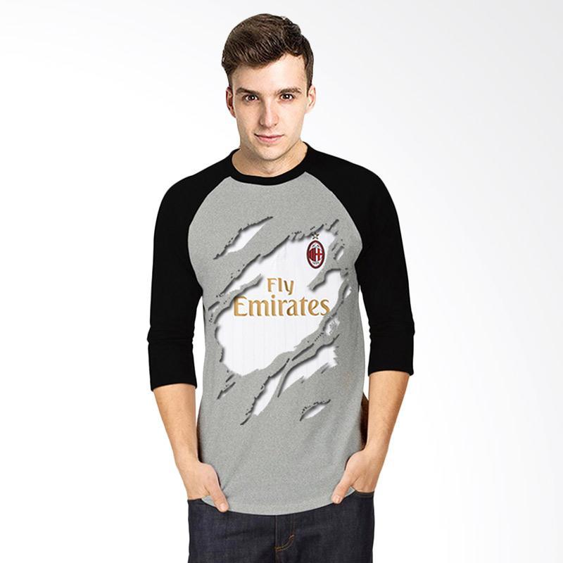 T-Shirt Glory Kaos 3D Ac Milan Jersey Away Raglan Pria - Abu Hitam Extra diskon 7% setiap hari Extra diskon 5% setiap hari