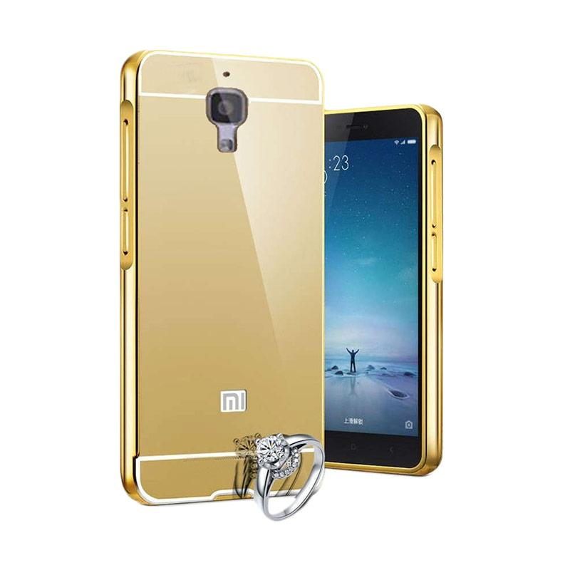 Case Aluminium Bumper Slide Mirror Casing for Xiaomi Mi 4 - Gold [Best Seller]