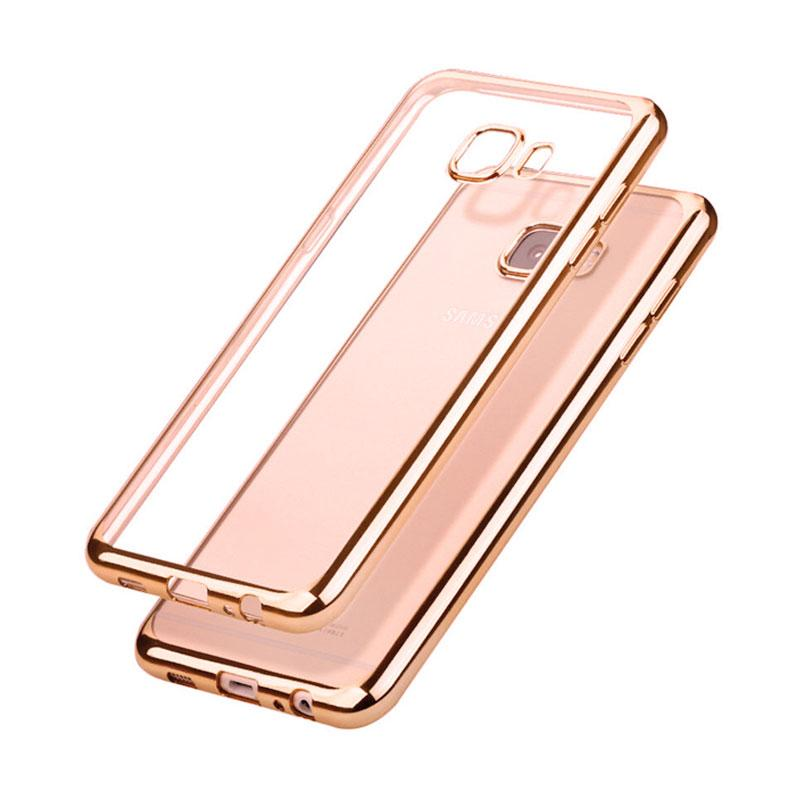 OEM Ultrathin TPU Shining Chrome Casing for Samsung Galaxy A7 2016 - Rose Gold