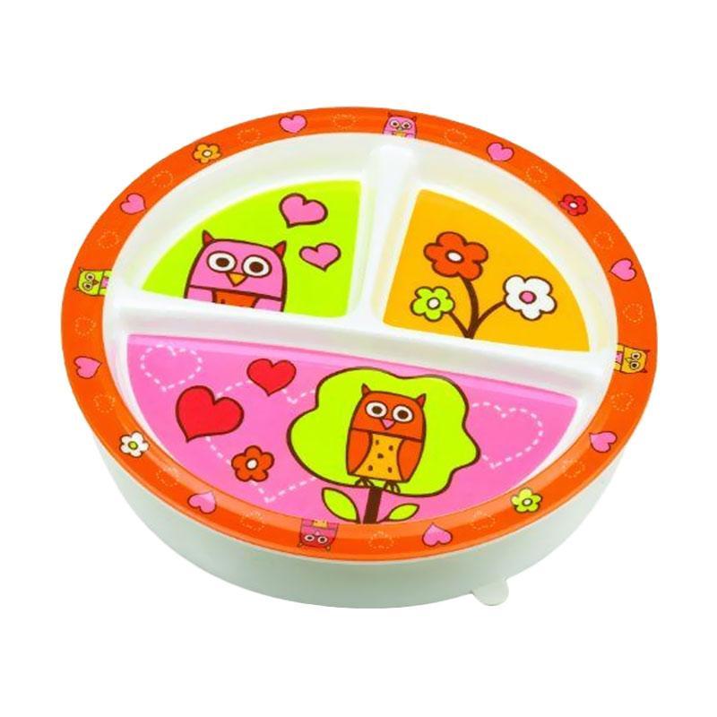 Sugar Boogar Spill Proof Baby Plate Divided Suction Plate Hoot Piring Makan Anak