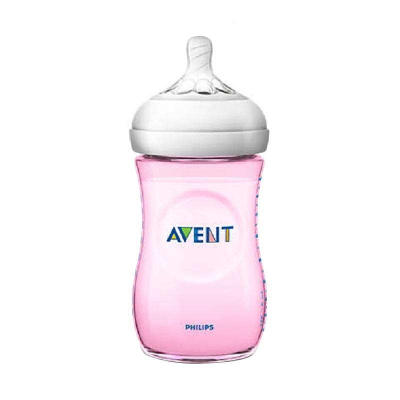 Philips Avent SCF694-13 Natural PP Single Botol Susu Bayi - Pink [260 mL/9 oz]