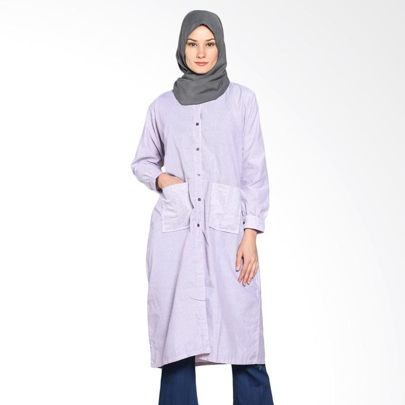 Chick Shop CO-34b-01-U Simple Stripes Long Shirt Tunic Moslem - Purple
