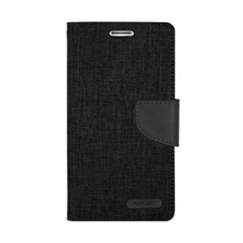 Mercury Canvas Diary Flip Cover Casing for iPhone 7 Plus 5.5 Inch - Hitam