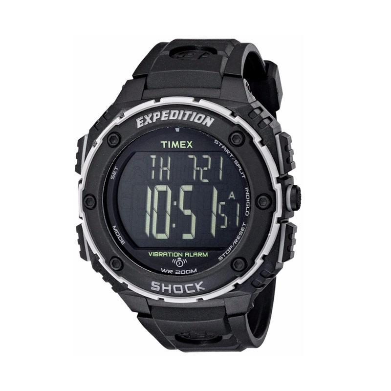 Timex Expedition Shock XL Vibrating Alarm Jam Tangan Pria Sport - Black