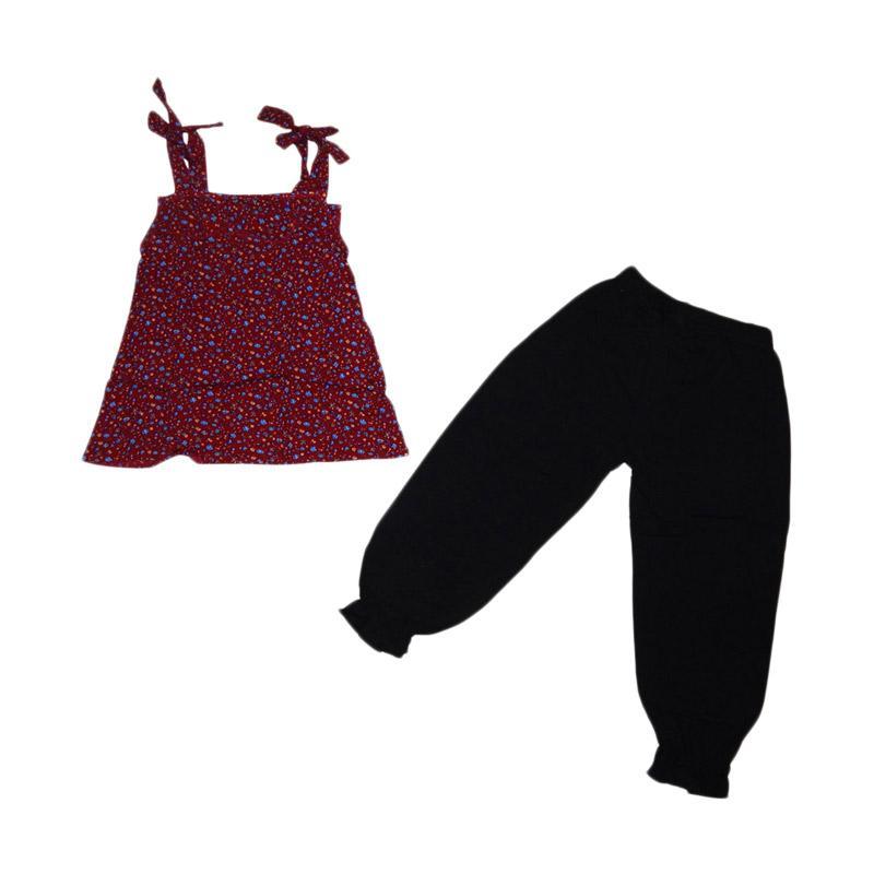Premium Pastel Tali Bunga Kecil Setelan Baju Anak - Multicolor