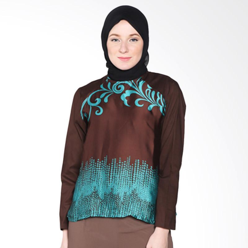 Rauza Rauza Sahara Abstrak Top Atasan Muslim - Stone Dark Brown