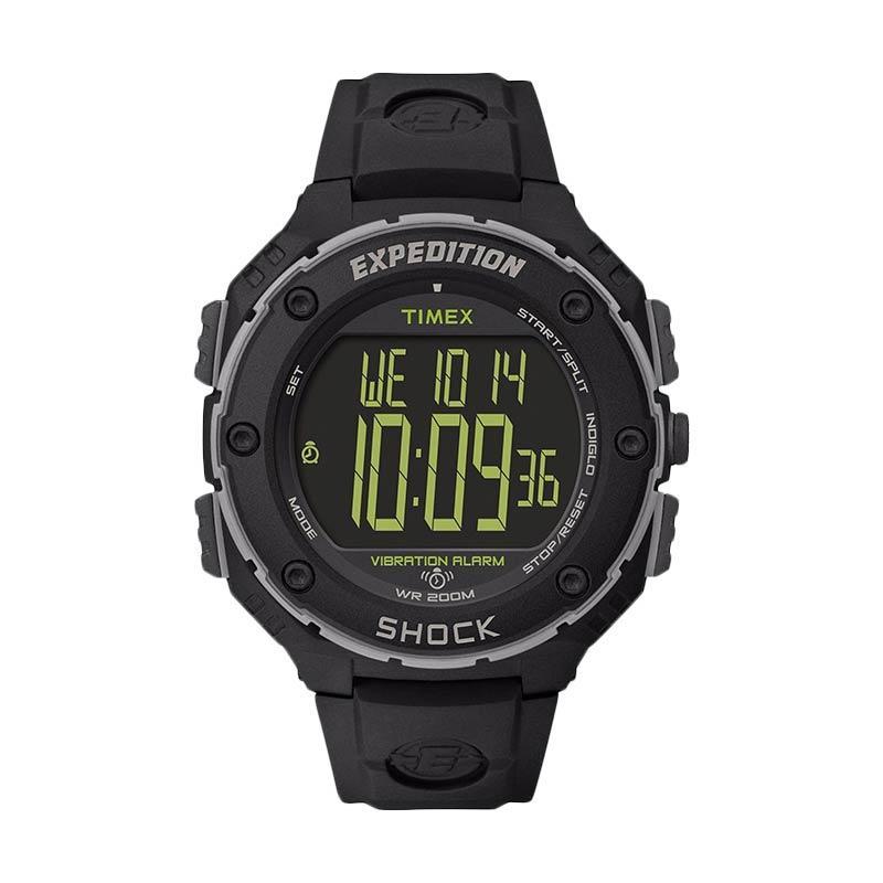 Timex Expedition Shock XL Vibrating Alarm Jam Tangan Sport Pria - Black