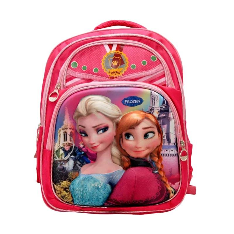 Autorace Disney Frozen Karakter 3 Dimensi SB 102 FZ Tas Sekolah Anak - Pink