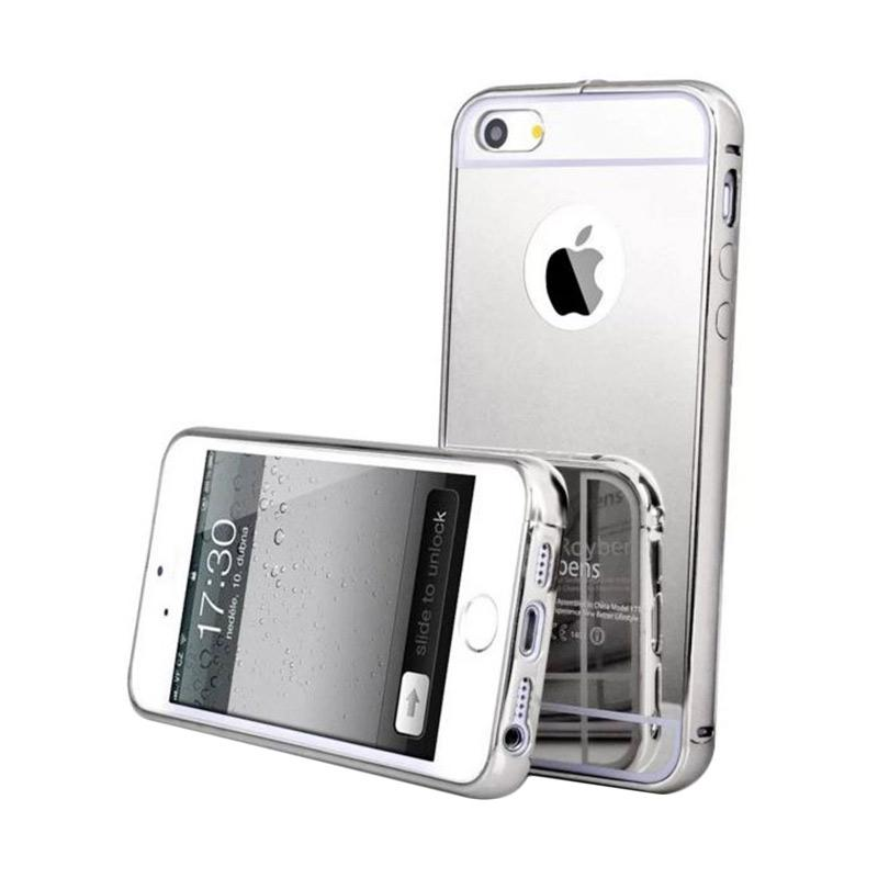 Mirror Luxury Metal Frame Bumper Hard Back Cover Casing for Apple iPhone 6/6S - Silver