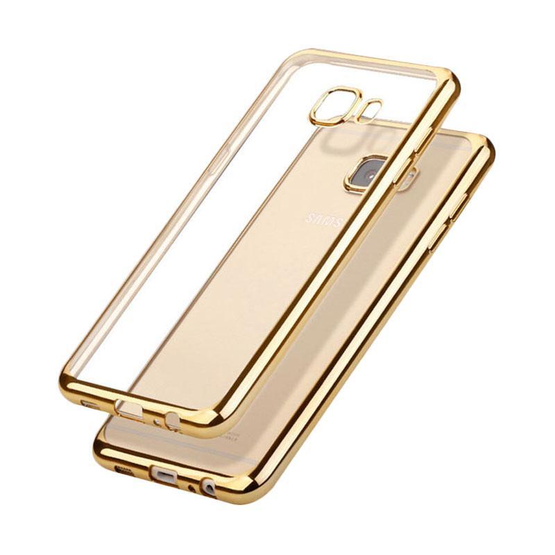 OEM Ultrathin TPU Shining Chrome Casing for Samsung Galaxy J5 Prime - Gold