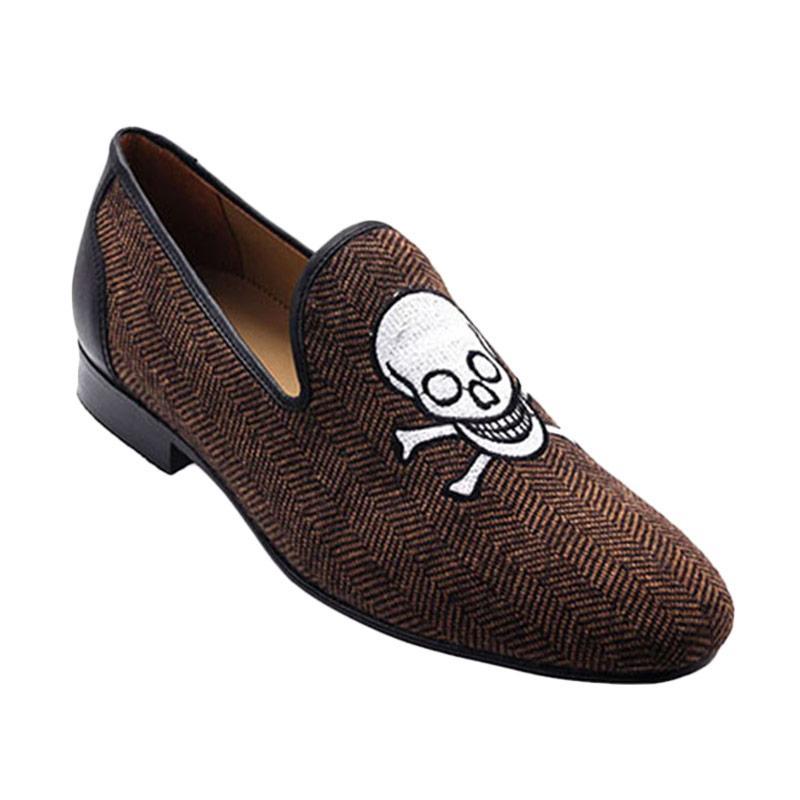 Ftale Footwear Happy Skull Mens Shoes Sepatu Pria - Herringbone Brown