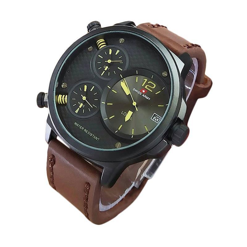 Swiss Army SA X02009C Triple Time Jam Tangan Pria - Coklat Tua Kuning